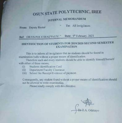 OSPOLY notice to students and invigilators ahead of 2nd semester exam, 2019/2020