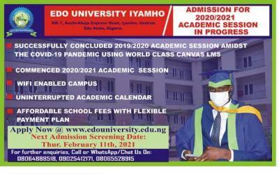 Edo State University, Iyamho next Post-UTME screening exercise holds February 11th