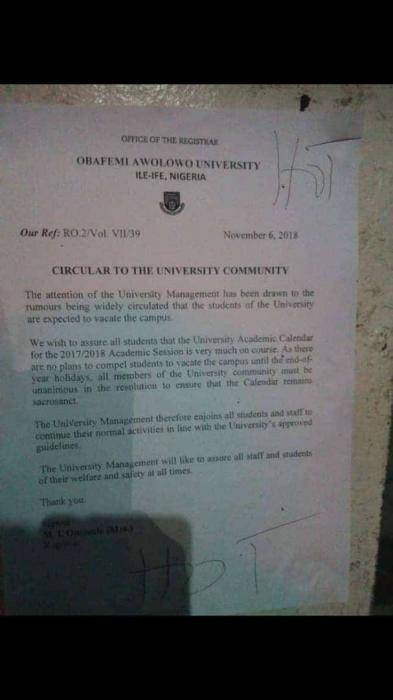 OAU Boycotts ASUU Strike, Continues with Academic Activities