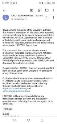 LAUTECH disclaimer notice on admission letter, 2020/2021 session