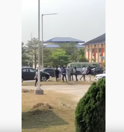 FUPRE lecturers wail as students take over parking space with flashy cars (video)