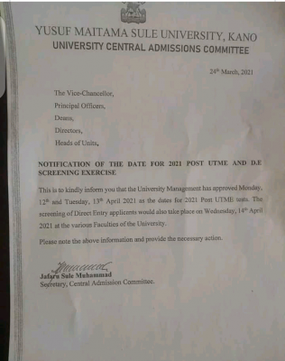 Yusuf Maitama Sule, Kano notice on Post-UTME/DE screening for 2020/2021 session
