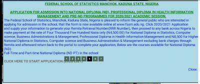 Federal schools of Statistics Manchok, Kaduna admission for 2020/2021 session