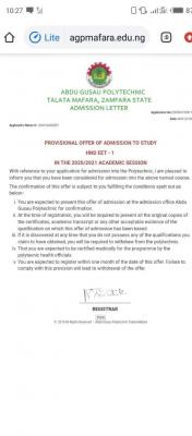 Abdul Gusau Polytechnic 2020/2021 HND admission list