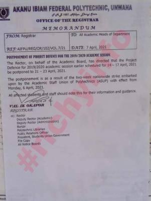 Akanu ibiam Federal Polytechnic postpones Project Defense, 2019/2020