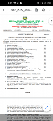 Federal College of Animal Health and Production Tech ND/HND Admission, 2021/2022