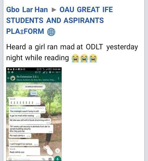 OAU Female Student Goes Mentally Unstable While Reading