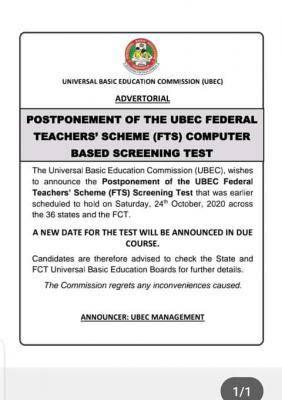 UBEC postpones FTS screening test