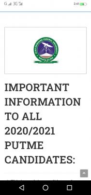 FUNAI notice to Post UTME candidates, 2020/2021 session