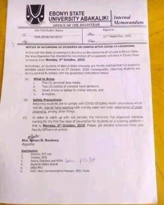 Ebonyi State University resumption of academic activities