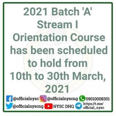NYSC announces 2021 batch