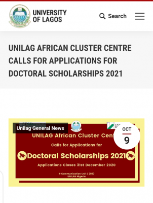UNILAG African Cluster Centre applications for Doctoral scholarships, 2021
