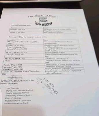 UNIJOS academic calendar for conclusion of 2019/2020 and 2020/2021 sessions
