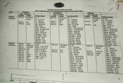 College of Education Waka-Biu first semester exam timetable, 2020/2021