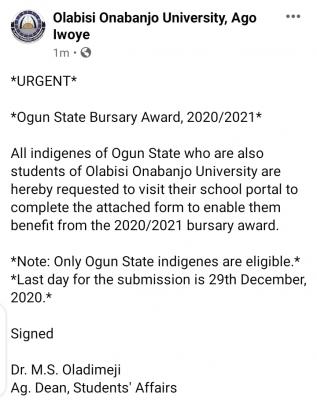 OOU notice to students from Ogun State on 2020/2021 bursary award