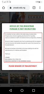 FUNAAB issue a disclaimer notice on staff recruitment in the institution
