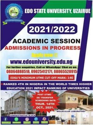 Edo State University Post-UTME screening date, 2021/2022