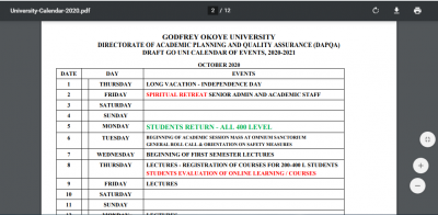 Godfrey Okoye University academic calendar for 2020/2021 session