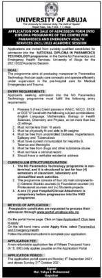 UNIABUJA diploma in Paramedics Technology admission, 2021/2022