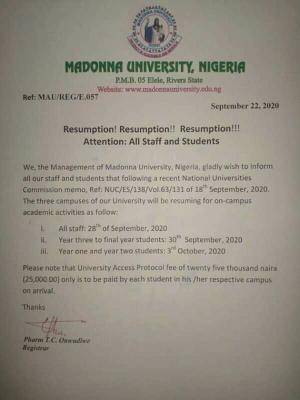 Madonna University announces resumption of academic activities