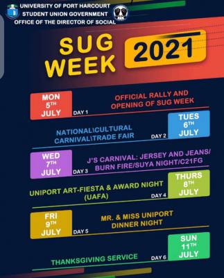 UNIPORT 2021 SUG week programme of events
