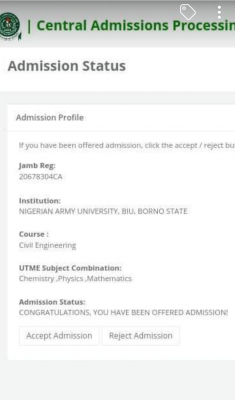 NAUB admission list, 2020/2021 out on JAMB CAPS