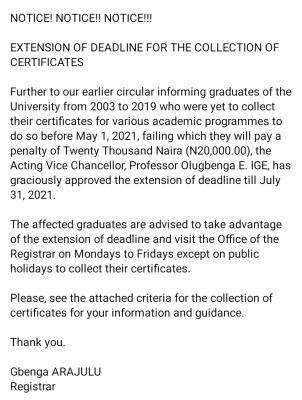 AAUA extends deadline for collection of certificates