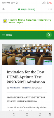UMYU announces Post UTME aptitude test for 2020/2021 session