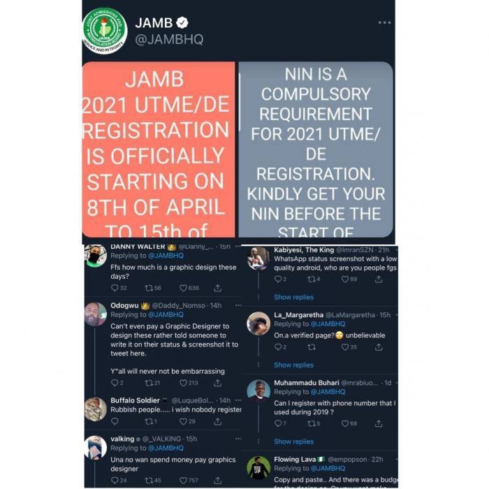 JAMB under fire for passing official information using images from a WhatsApp status