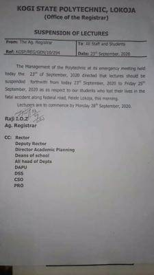 Kogi State Polytechnic Suspends Lectures Over Death of Students