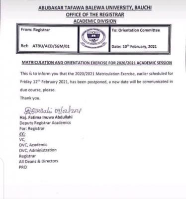 ATBU postpones matriculation ceremony for 2019/2020 session