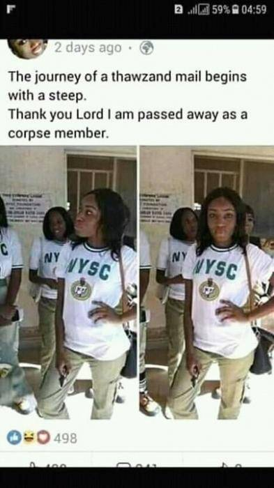 Lol! See What A Corps member Posted on Facebook After Her POP