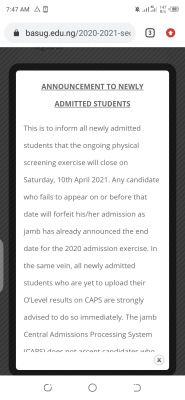 BASUG notice to newly admitted candidates, 2020/2021 on physical screening exercise