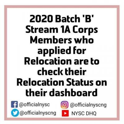 NYSC notice to 2020 Batch B prospective corps members