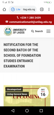 UNILAG announces date for next batch of School of Foundation studies entrance exam, 2020/2021