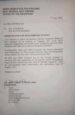 Akwa Poly notice to students on psychometric studies registration