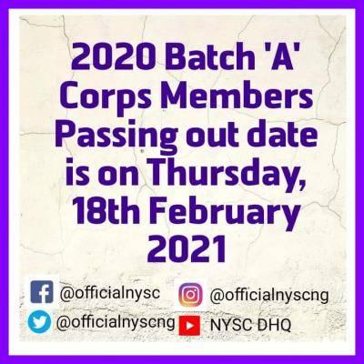 NYSC 2020 Batch A corps members POP date