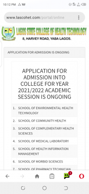 Lagos State College of Health Technology admission form for 2021/2022 session