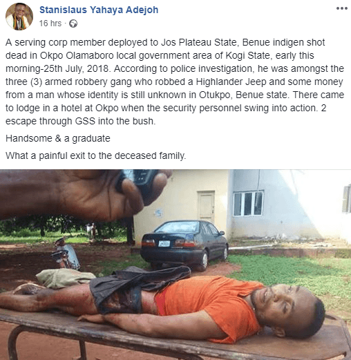 NYSC Member Shot Dead By Police Over Alleged Robbery Incident