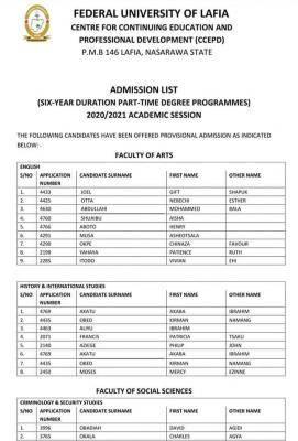 FULAFIA 2020/2021 Part-time undergraduate Admission List