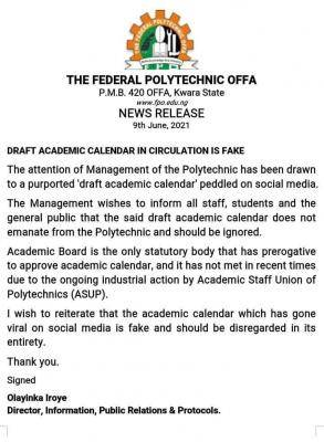 Fed Poly Offa issues notice on fake academic calendar