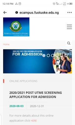 FUOTUOKE extends Post-UTME registration deadline for 2020/2021 session
