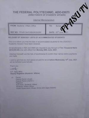 Fed Poly Ado-Ekiti notice update on accommodation for 2020/2021