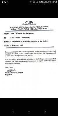 Kaduna COE suspends academic activities