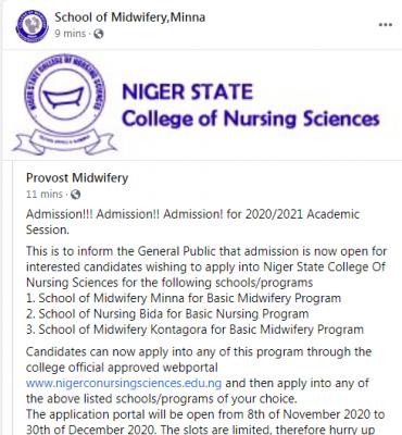 Niger State College of Nursing admission for 2020/2021 session