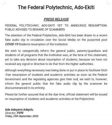 Federal Polytechnic Ado-Ekiti denies resumption date