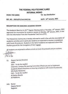Federal Polytechnic, ilaro notice on resumption date