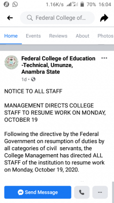 Federal college of education (umunze) directs staff to resume