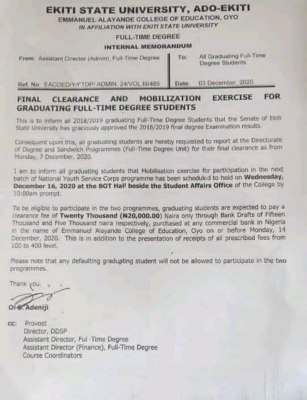 Emmanuel Alayande COE notice to graduating degree students on final clearance and mobilization