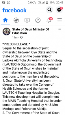 Osun State takes over College of Health Sciences and former LAUTECH Teaching Hospital in Osogbo